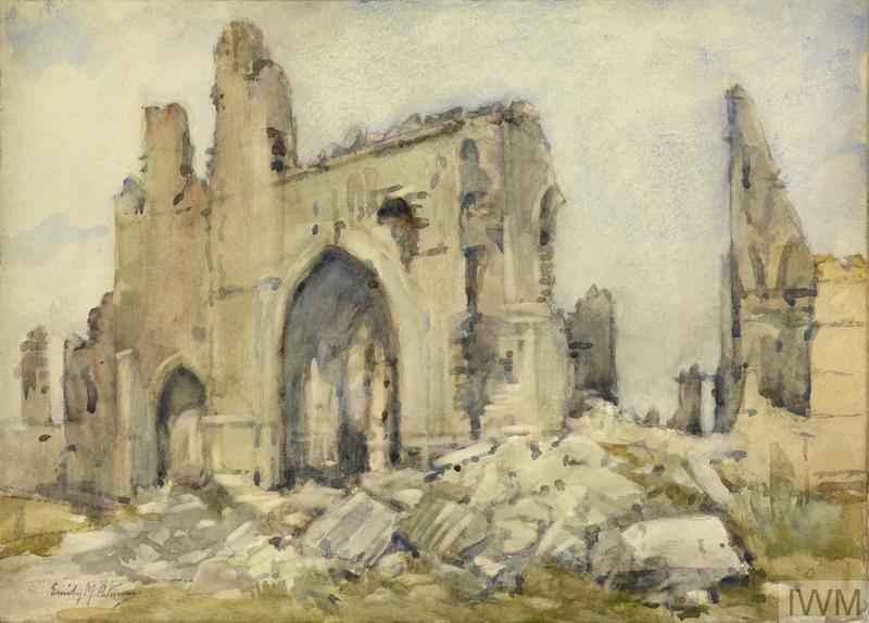 © IWM ART 4756 by Emily m paterson, 1919. the cloth hall, ypres, 1919. view of the ruined walls of the medieval cloth hall in ypres, with piles of rubble in the foreground.