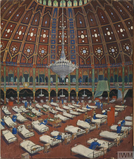 © iwm art 323. indian army wounded in hospital in the dome.