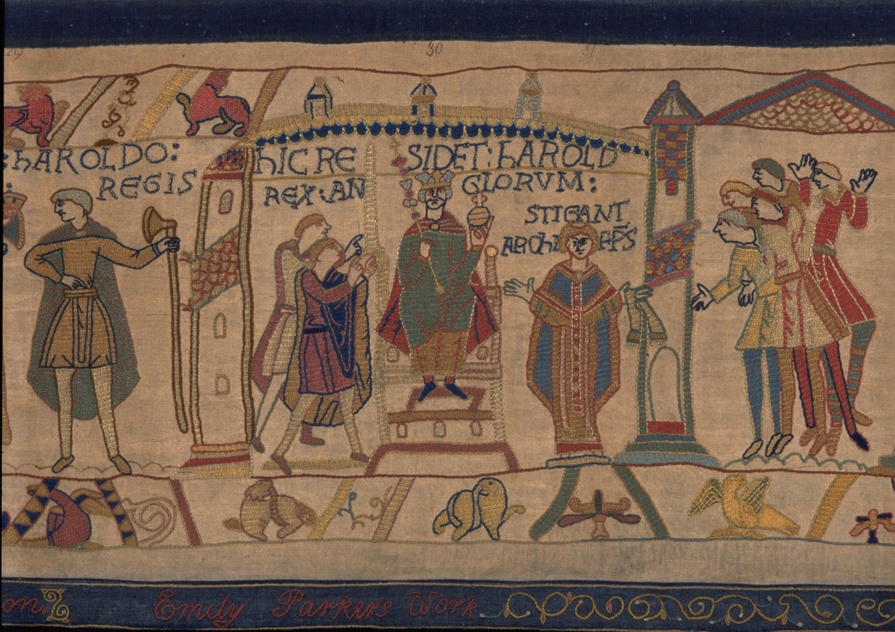 A scene from BAYEUX TAPESTRY - Harold is crowned king.  © Reading Museum (Reading Borough Council)