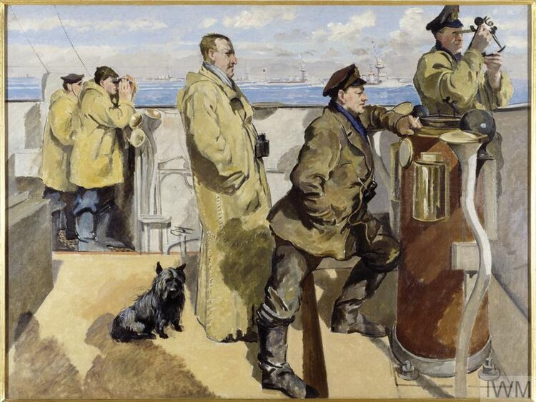 © IWM ART 1311. bridge of the hms cantebury. when the great naval raid took place on zeebrugge and ostend.