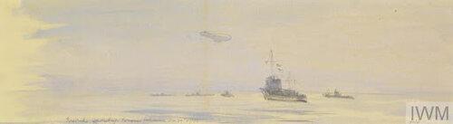 © iwm art 1118.hms firedrake signalling mn - stop immediately - to german uboats.