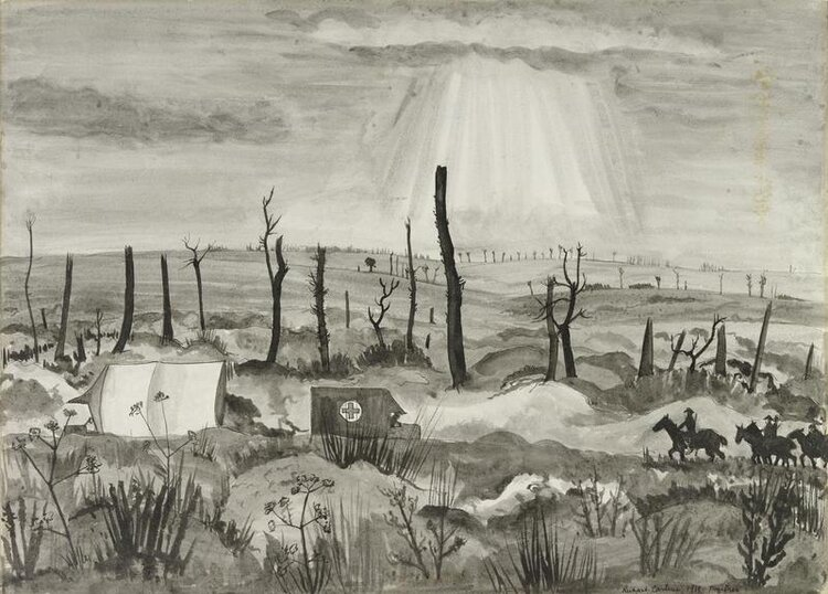 © IWM art 2676 richard carline. a battle scarred landscape with a road running horizontally across the composition in the foreground. there are two trucks, one marked with a red cross and four soldiers on horseback moving along the road.