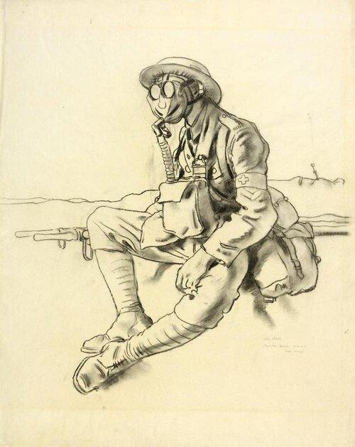 © IWM art 3037. the gas mask by irish artist william orpen. a study of a stretcher-bearer sitting beside a stretcher, his face obscured by the gas mask he is wearing.