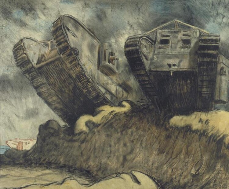 © IWM art 3035 - william orpen, tanks. a view looking up to the underside of two tanks. the tanks are cresting a low rise, their treads rearing up towards the grey sky.