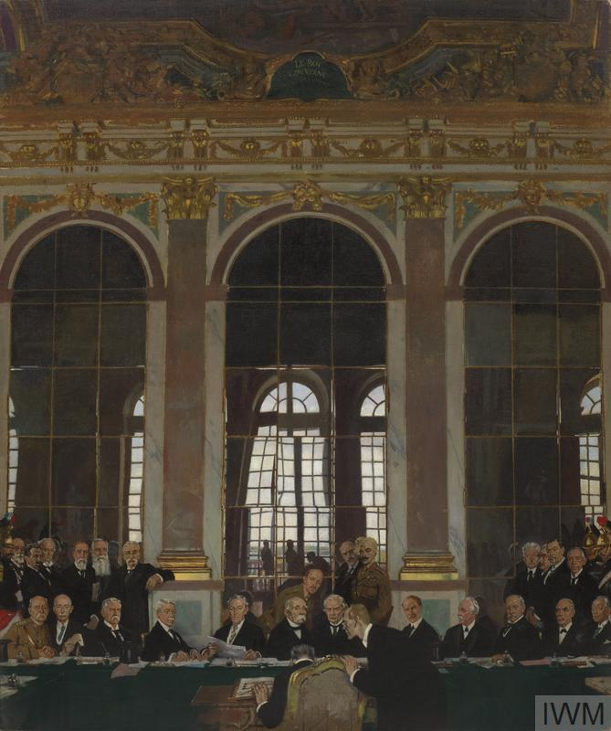 © IWM Art 2856. the signing of peace in the hall of mirrors, versailles.
