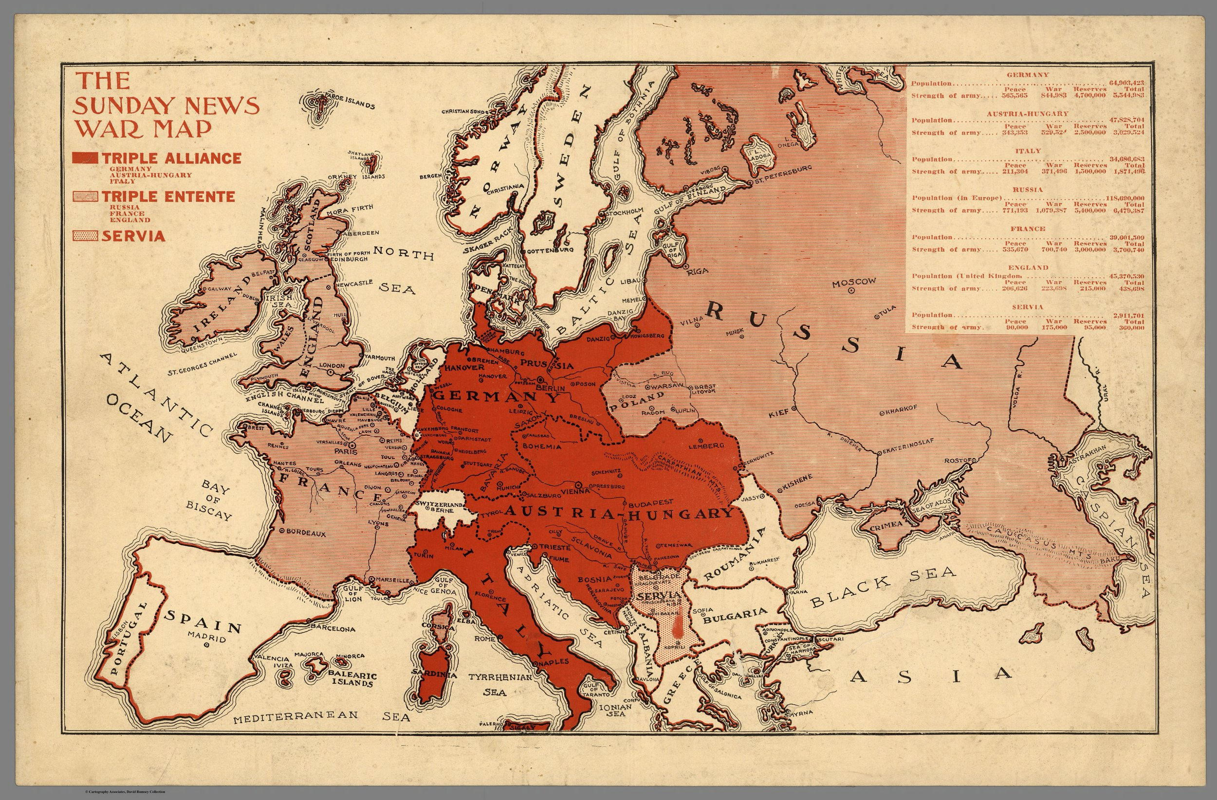 the sunday news war map, 1914