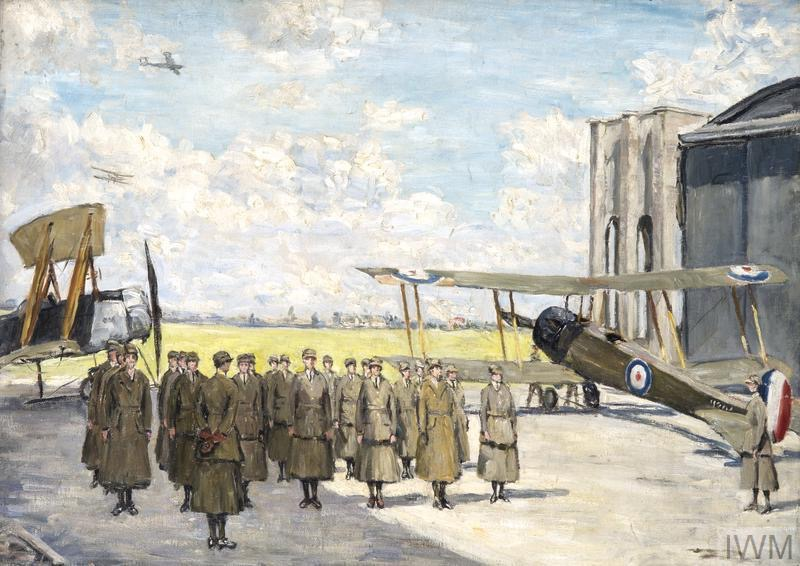 © IWM Art 5103. fairlie harmar harberton - wraf's drilling at andover aerodrome - a group of women's royal air force personnel engaged in military drill on the tarmac.
