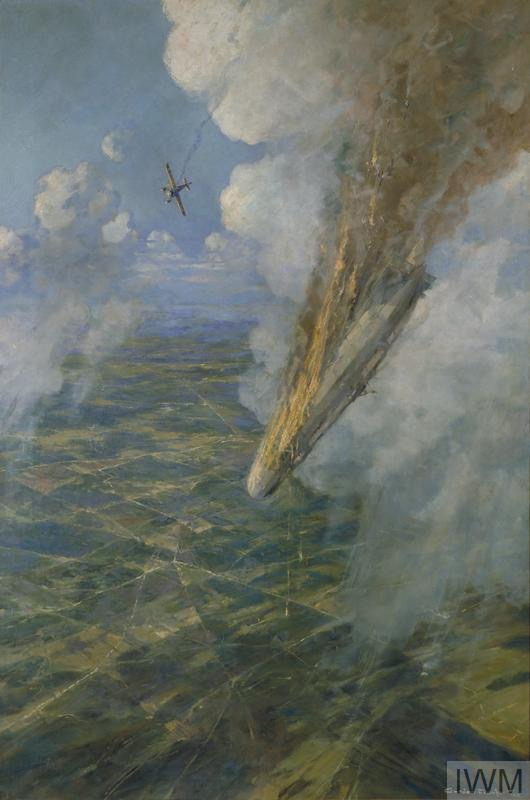 © IWM ART 3077. the first zeppelin to be brought down by allied aircraft.