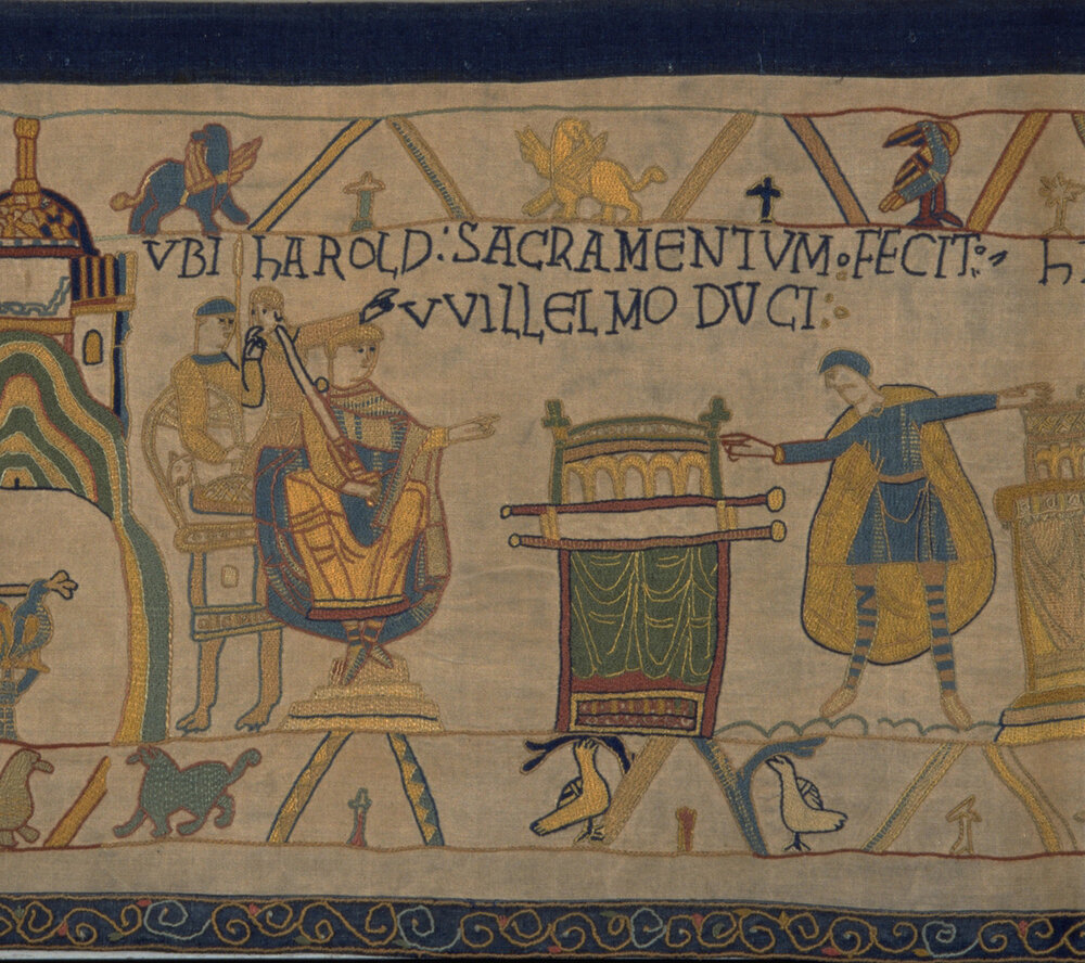 © Reading Museum (Reading Borough Council) – William sits on his throne watching as Harold, each hand on a reliquary, swears an oath.