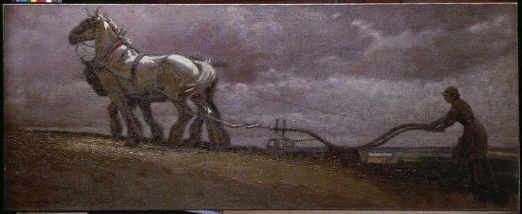 © iwm 2618. cecil aldin, a land girl ploughing.