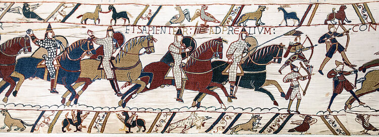 Bayeux Tapestry - Battle of Hastings Norman knights and archers