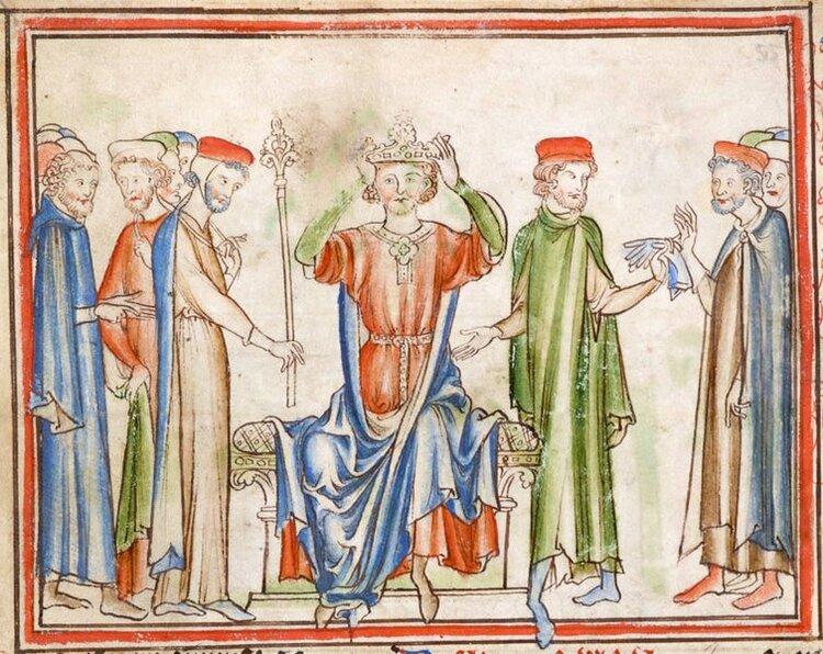 King Harold II places the crown on his own head.
