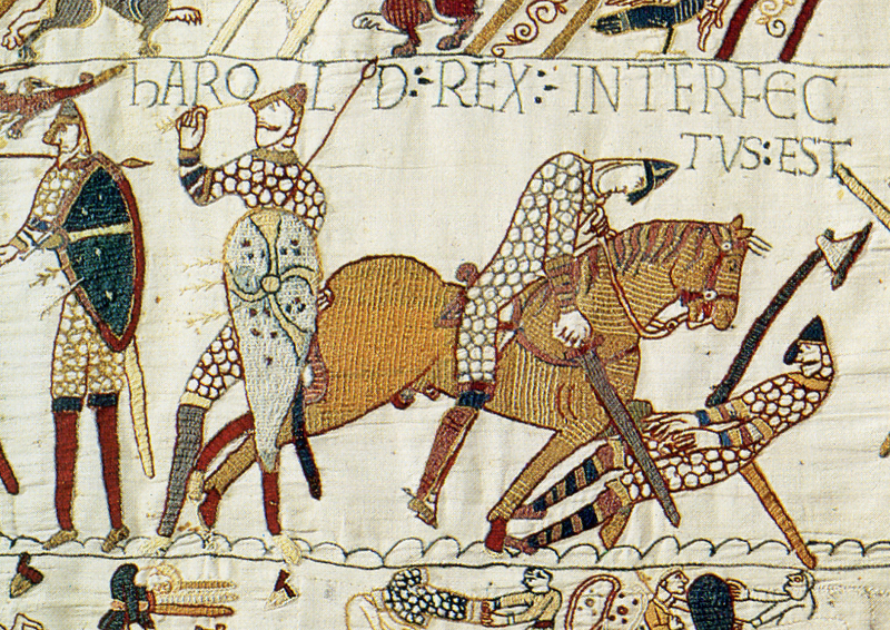 Harold Godwinson falls at Hastings. Harold was struck in the eye with an arrow (left), slain by a mounted Norman knight (right) or both.