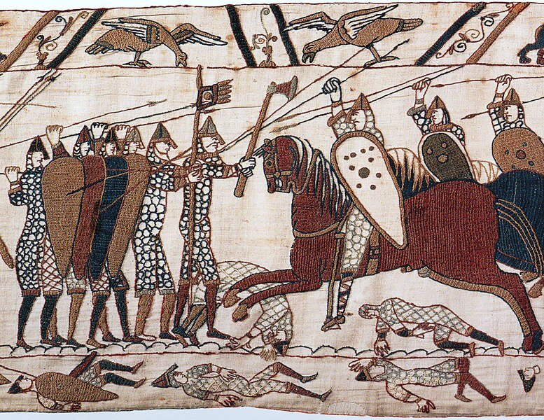 the Bayeux Tapestry. This depicts mounted Normans attacking the Anglo-Saxon infantry - showing the two different types of armies