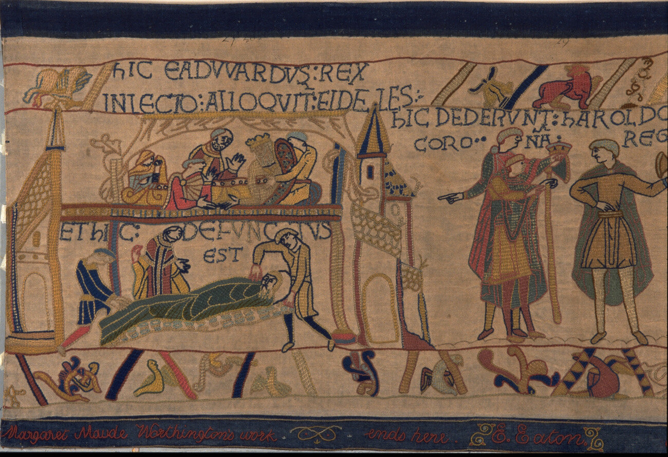 ONE OF THE THREE WOMEN shown in the Bayeux Tapestry, EDITH (EDWARD'S WIFE) IS DEPICTED IN THE SCENE  © READING MUSEUM (READING BOROUGH COUNCIL)