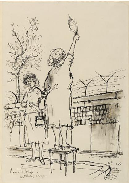 DIE MAUER 6 - BERLIN (BERLIN WALL) WAVING TO RELATIVES IN THE EASTERN ZONE 8 OCTOBER 196 1  © Imperial War Museums (Art.IWM ART 15192)