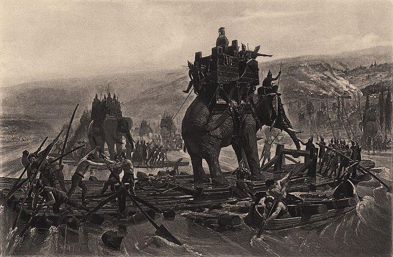 Hannibal Barca crossing the Rhône.