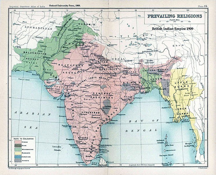 "Map ""Prevailing Religions of the British Indian Empire, 1909"