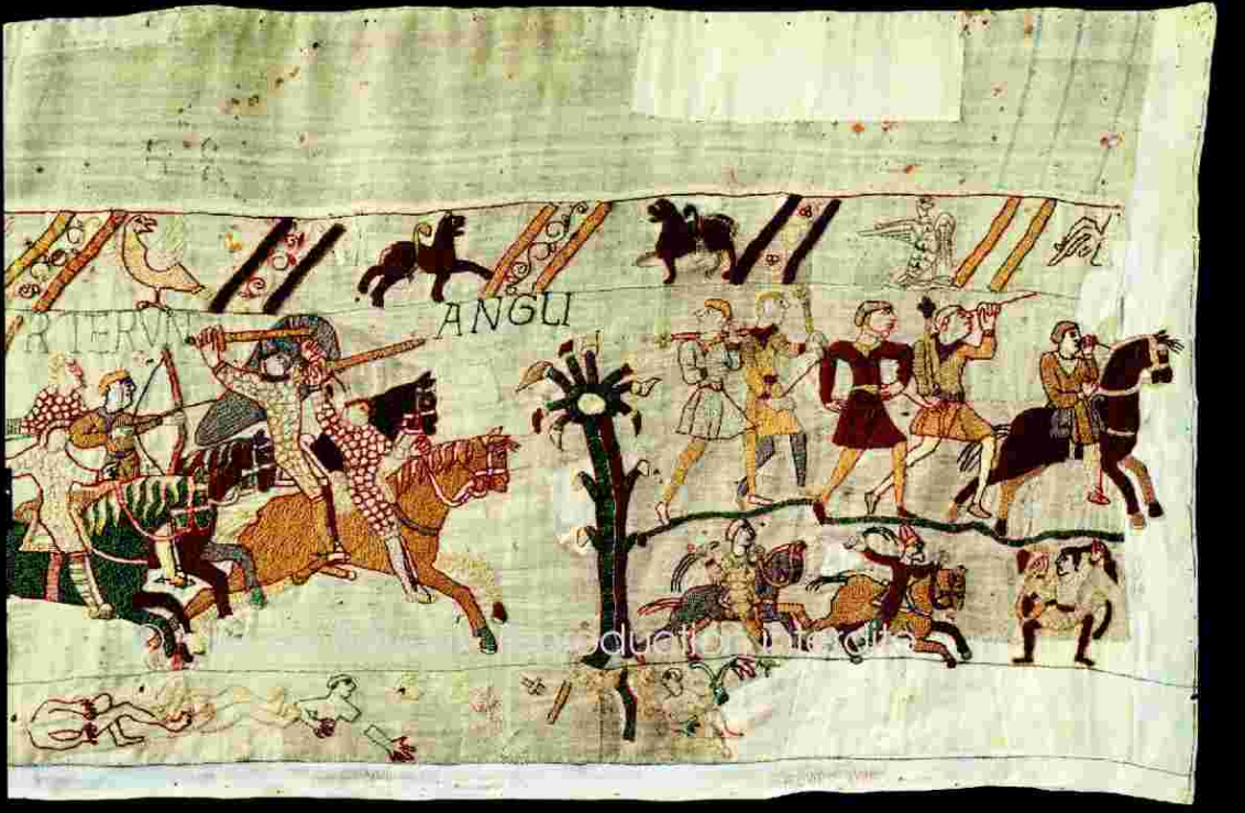 DETAIL OF THE BAYEUX TAPESTRY - 11TH CENTURY WITH SPECIAL PERMISSION FROM THE CITY OF BAYEUX