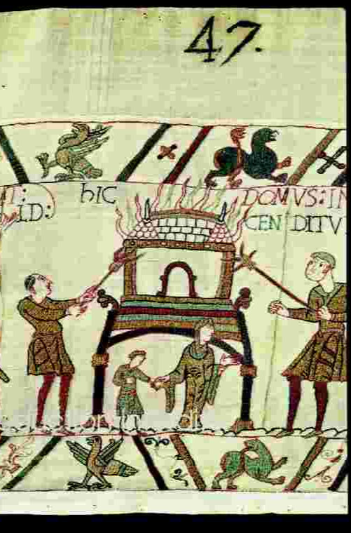 Woman and child, FLEEING burning BUILDING  Detail of the Bayeux Tapestry - 11th CenturY with special permission from the City of Bayeux