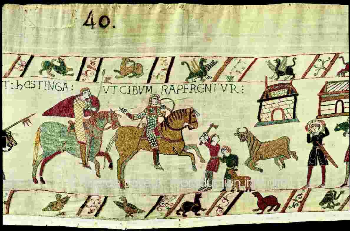 reach the south coast of England on the 28th September and land at Pevensey where they later built their first castle DETAIL OF THE BAYEUX TAPESTRY - 11TH CENTURY WITH SPECIAL PERMISSION FROM THE CITY OF BAYEUX