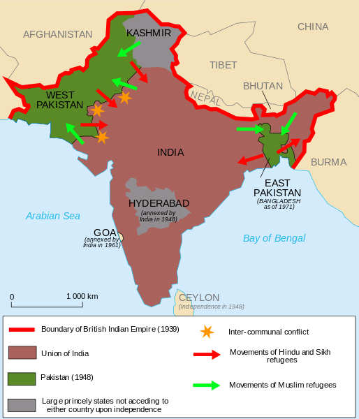 The partition of India (1947) Author:  Partage_de_l'Inde.svg :  historicair  17:15, 19 November 2006 (UTC)  This file is licensed under the  Creative Commons  Attribution-Share Alike  2.5 Generic ,  2.0 Generic  and  1.0 Generic  license. This file is licensed under the  Creative Commons   Attribution-Share Alike 3.0 Unported  license.