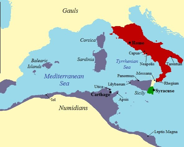 Map of the western Mediterranean at the time of the First Punic War in 264 BCE   ©by Jan van der Crabben