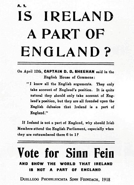 Sinn Féin election poster in 1918 quoting D. D. Sheehan MP, leading up to the December 1918 general election in Ireland. Originally uploaded to en.wikipedia (file log) by Osioni.