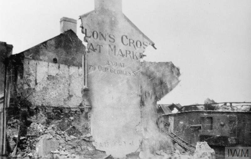 Remains of Dillon's Cross meat market, Cork, after official reprisal. © IWM (Q 107756)