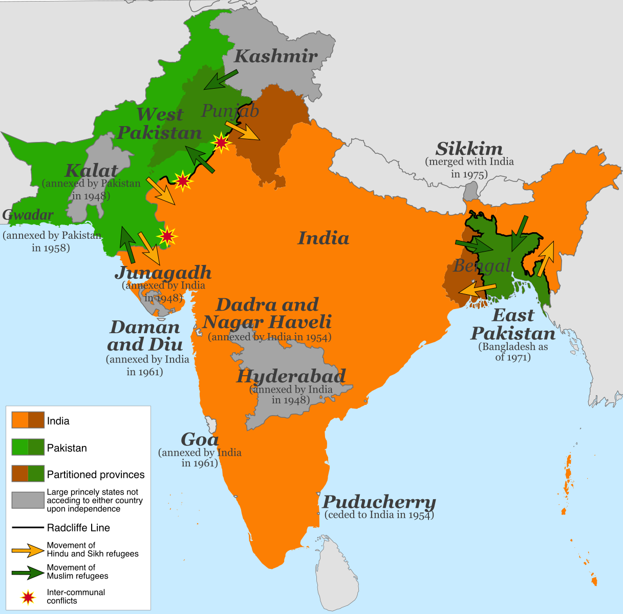 Map of the partition of India (1947). Note: Small princely states not acceding to either country upon independence are shown as integral parts of India and Pakistan. This file is licensed under the  Creative Commons   Attribution-Share Alike 4.0 International  license.