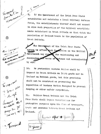Anglo-Irish Treaty - Page from a draft of the Anglo-Irish Treaty, annotated by Arthur Griffith