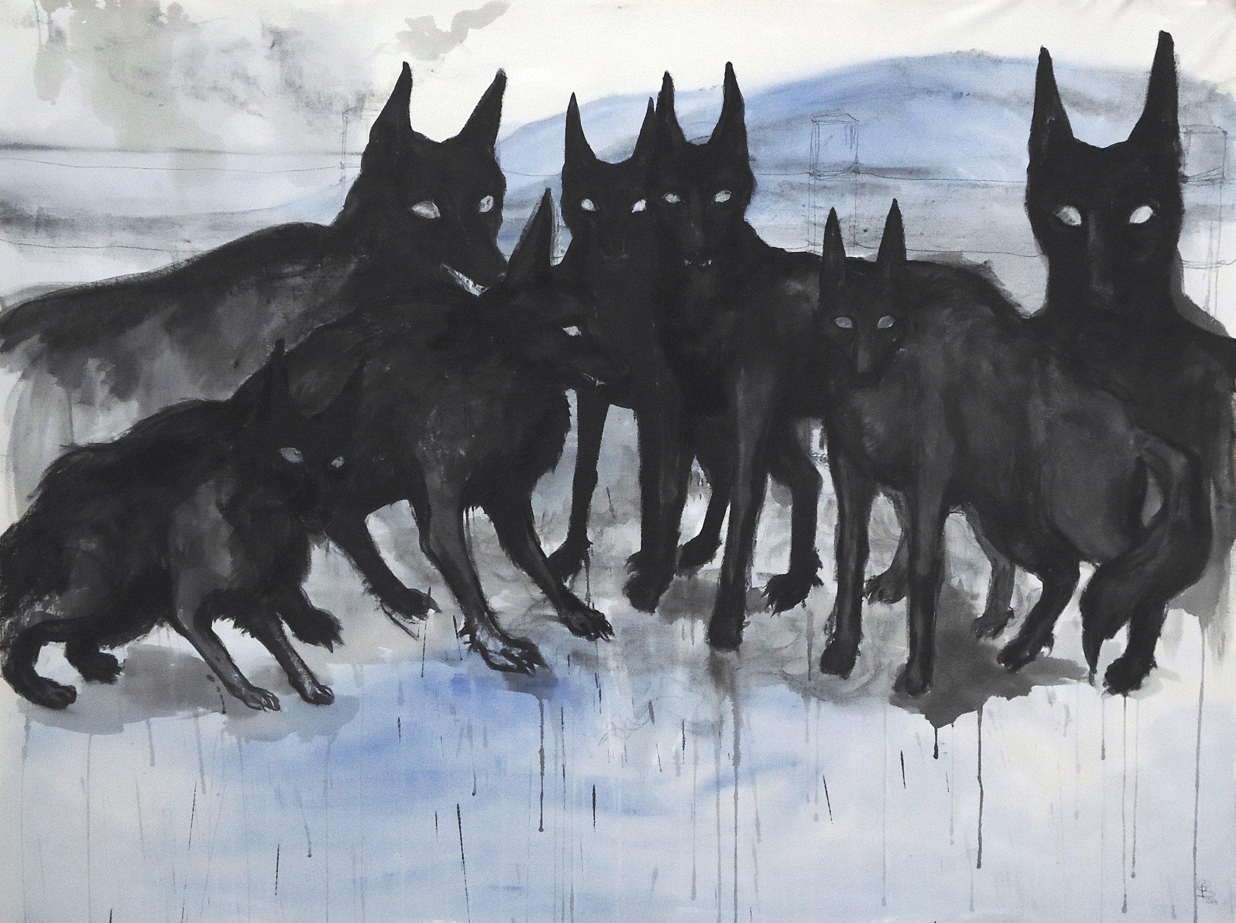 "Yellhounds. Ink, charcoal, acrylic. 59"" x 79"""