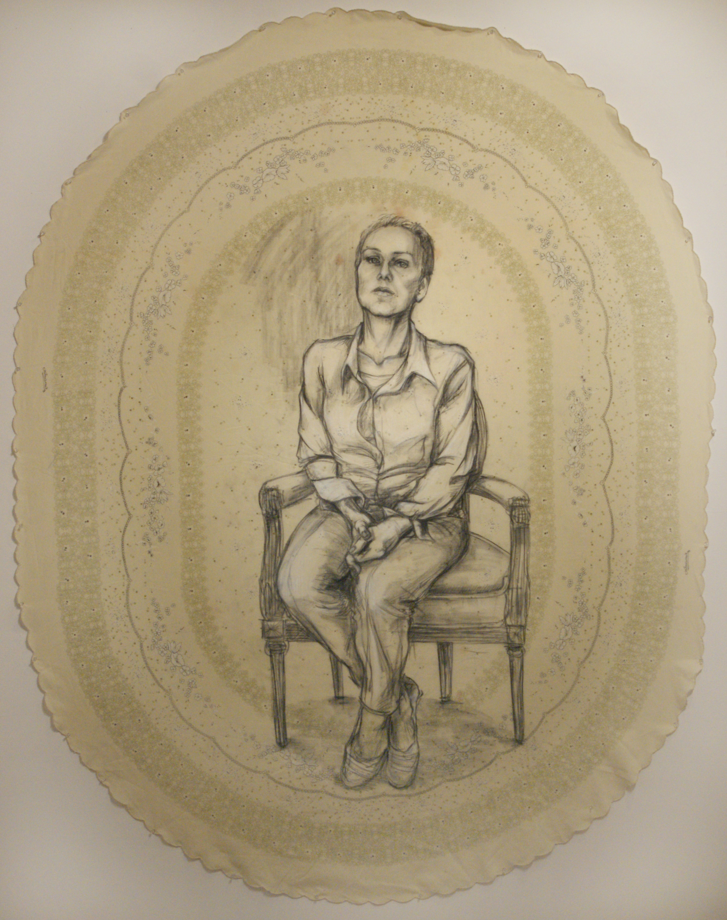Mama. Charcoal and graphite on tablecloth. Approx. 4' x 6'
