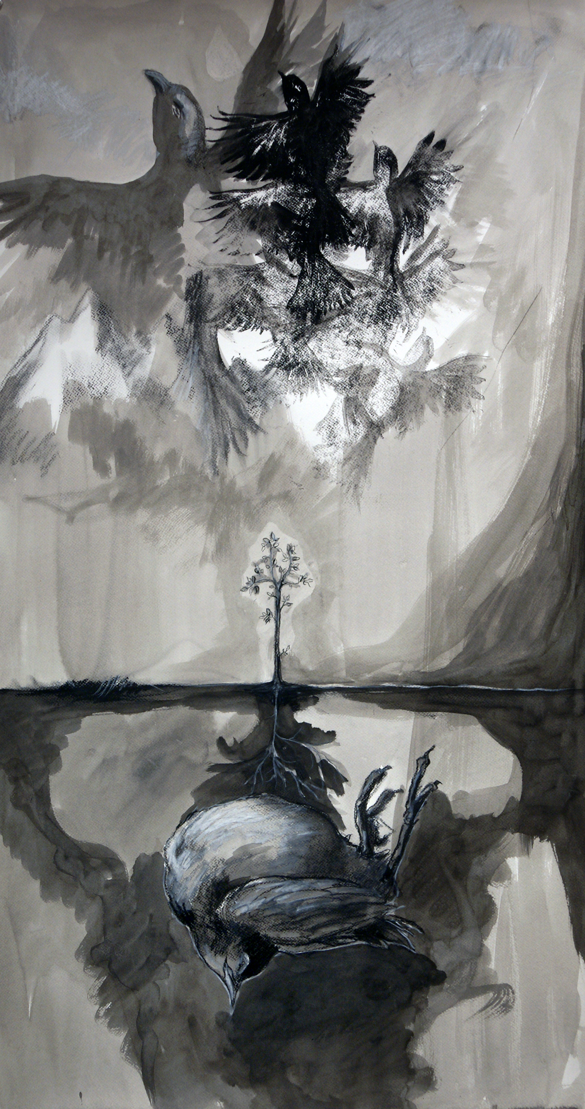 "Little Death: Rebirth. Charcoal, ink wash, conte, linocut. 24"" x 36"""