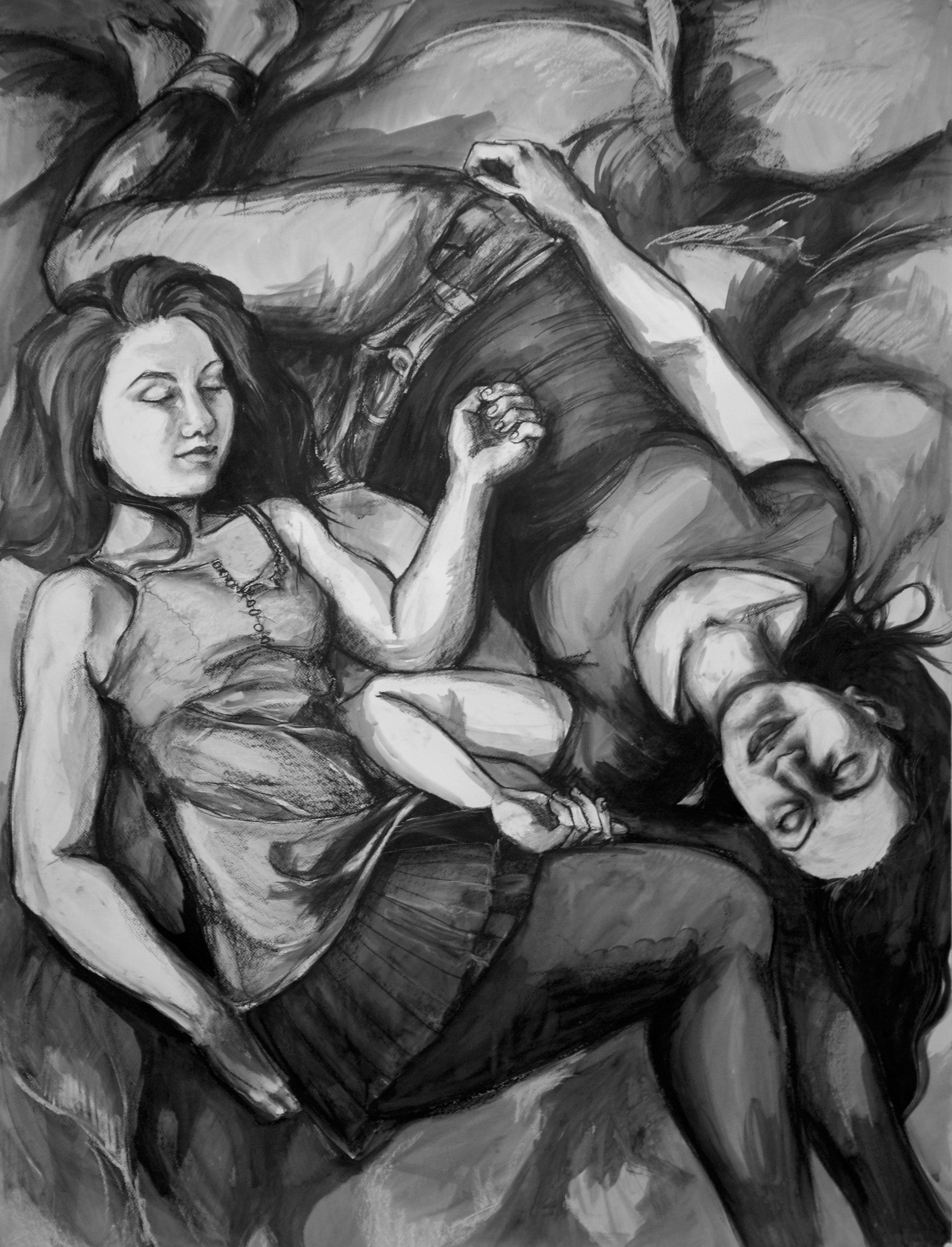"""Quiet spaces between us. Charcoal, ink wash. 55"""" x 70"""""""