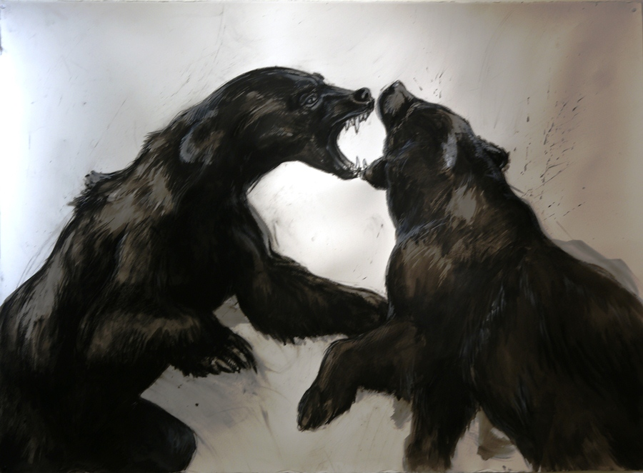 "Chaos and conflict: Bears. Charcoal, ink wash, conte. 54"" x 74"""