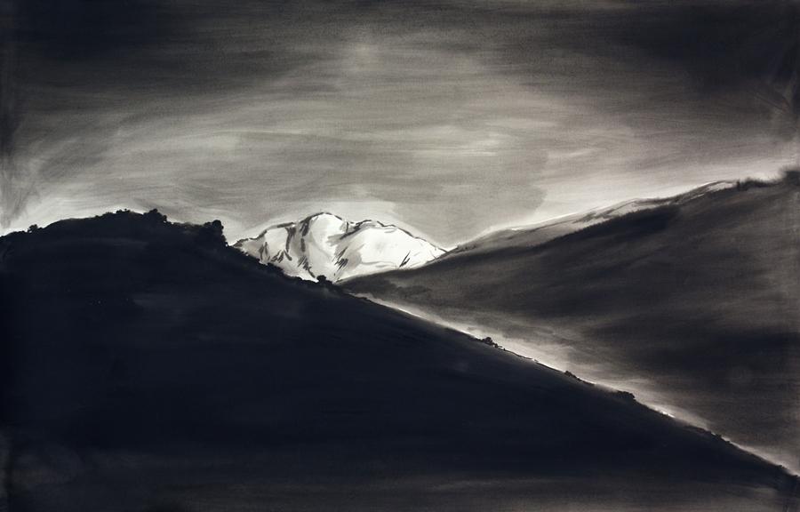 "Mountain meditation #4.Ink wash. 44"" x 55"""