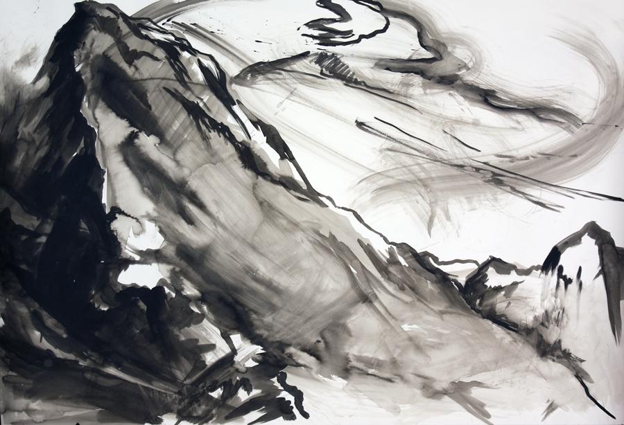 "Mountain meditation #7. Ink wash. 44"" x 55"""
