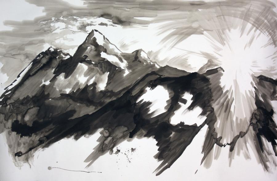 "Mountain meditation #3.Ink wash. 44"" x 55"""