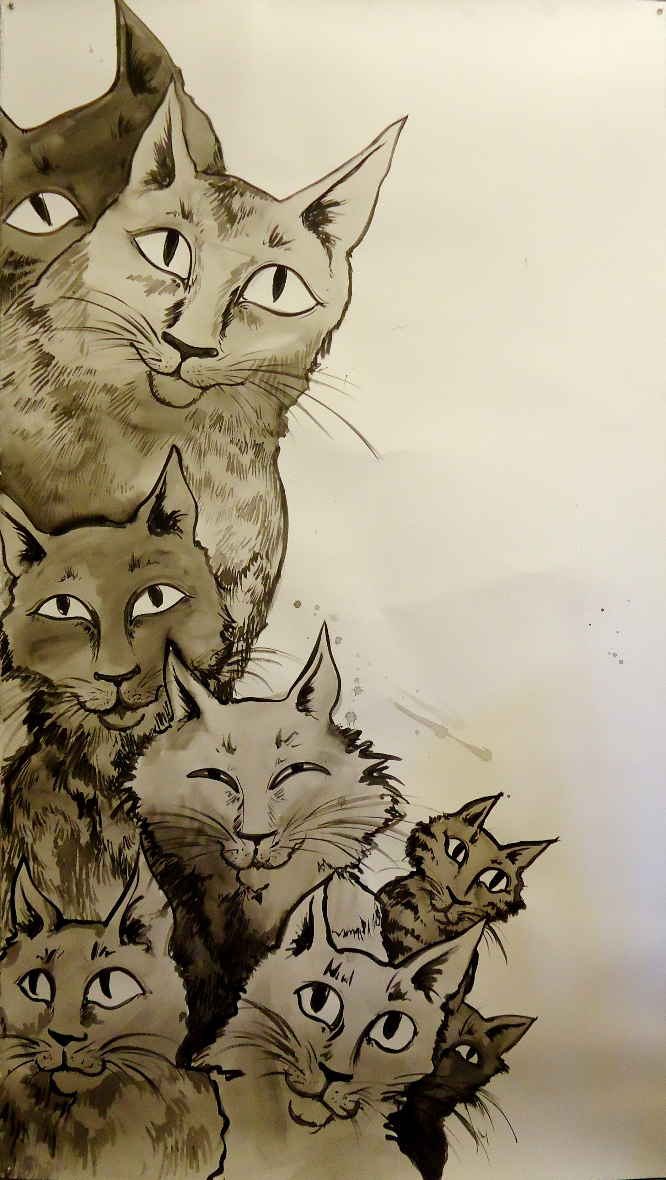"""I woke to plaintive meowing in the room, and a vague, nagging concern that I may be out of canned tuna. Ink on paper.42.5"""" x 73.5"""""""