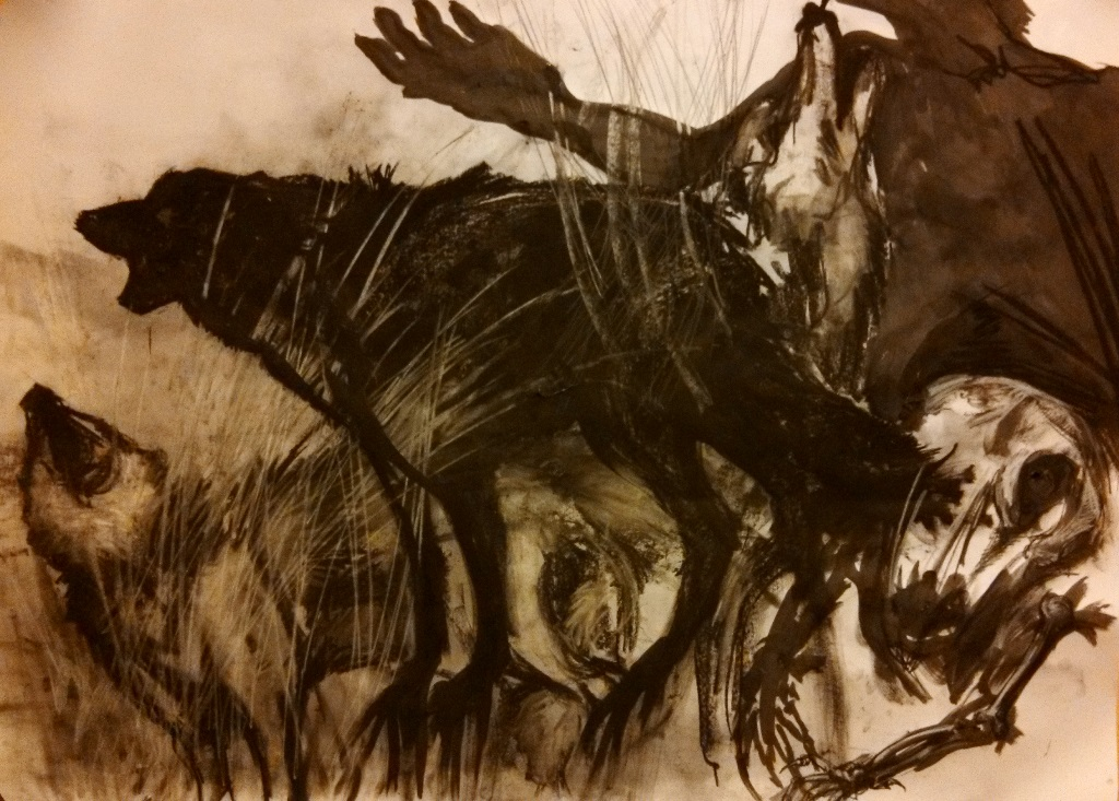 If Francis Bacon had Wolves. Charcoal and ink. 3' x 4'
