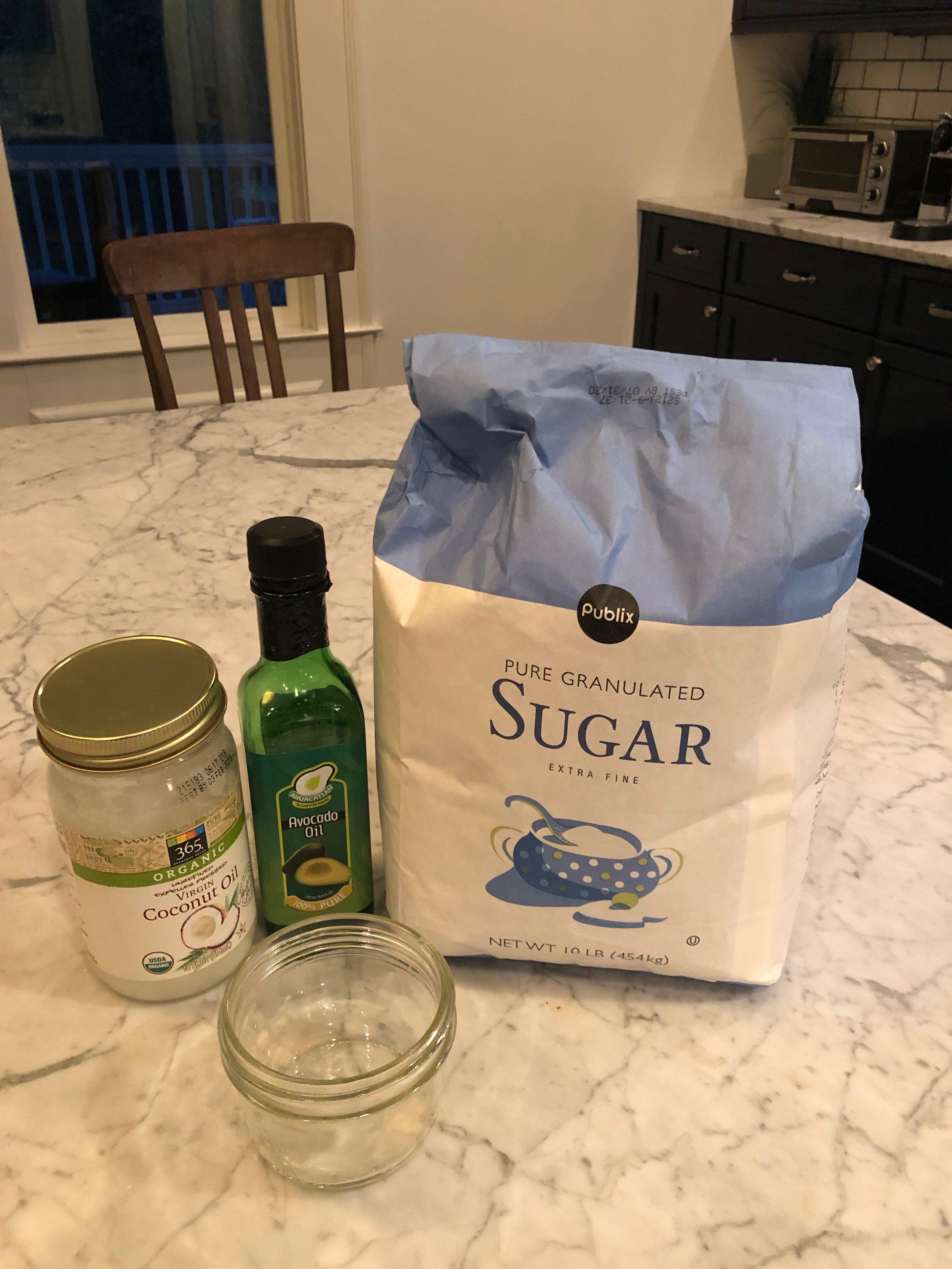 Oil + Sugar = Simple & Luxurious scrub!