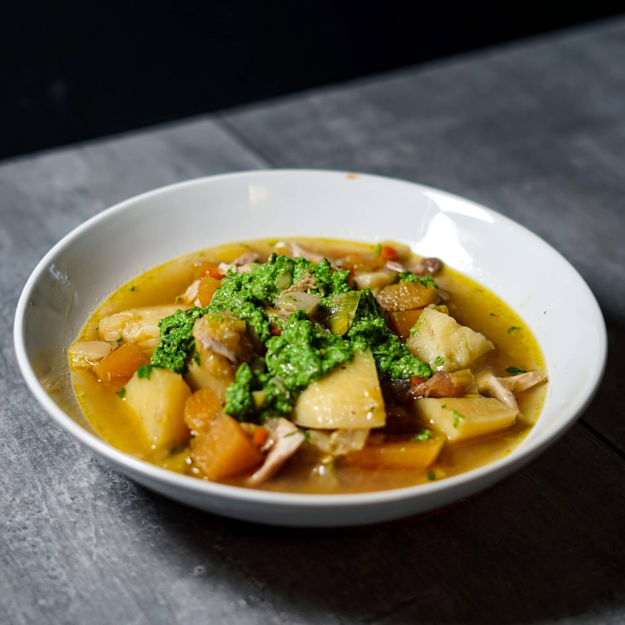 chicken stew winter pesto