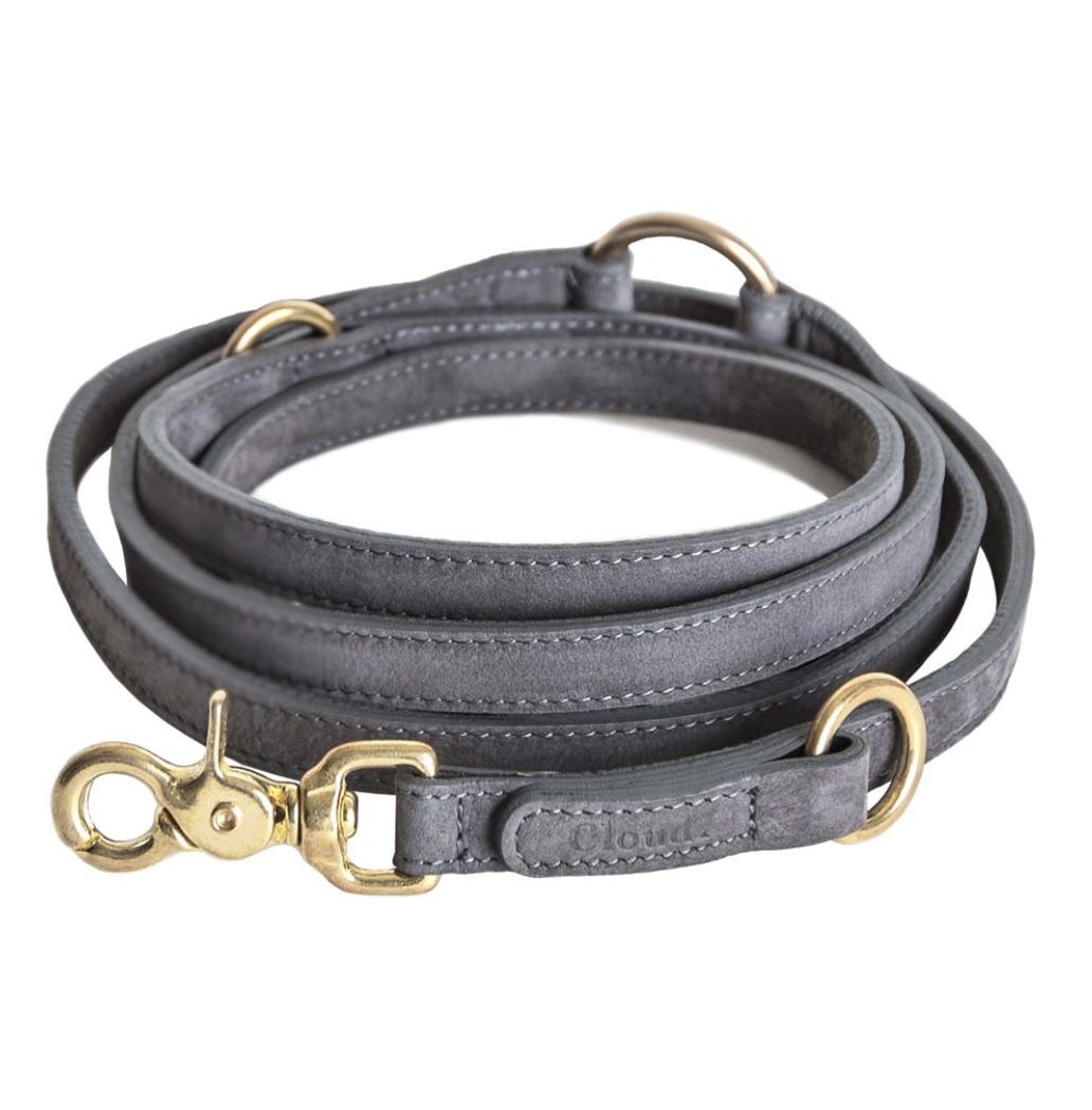 Adjustable Leather Dog Lead Grey