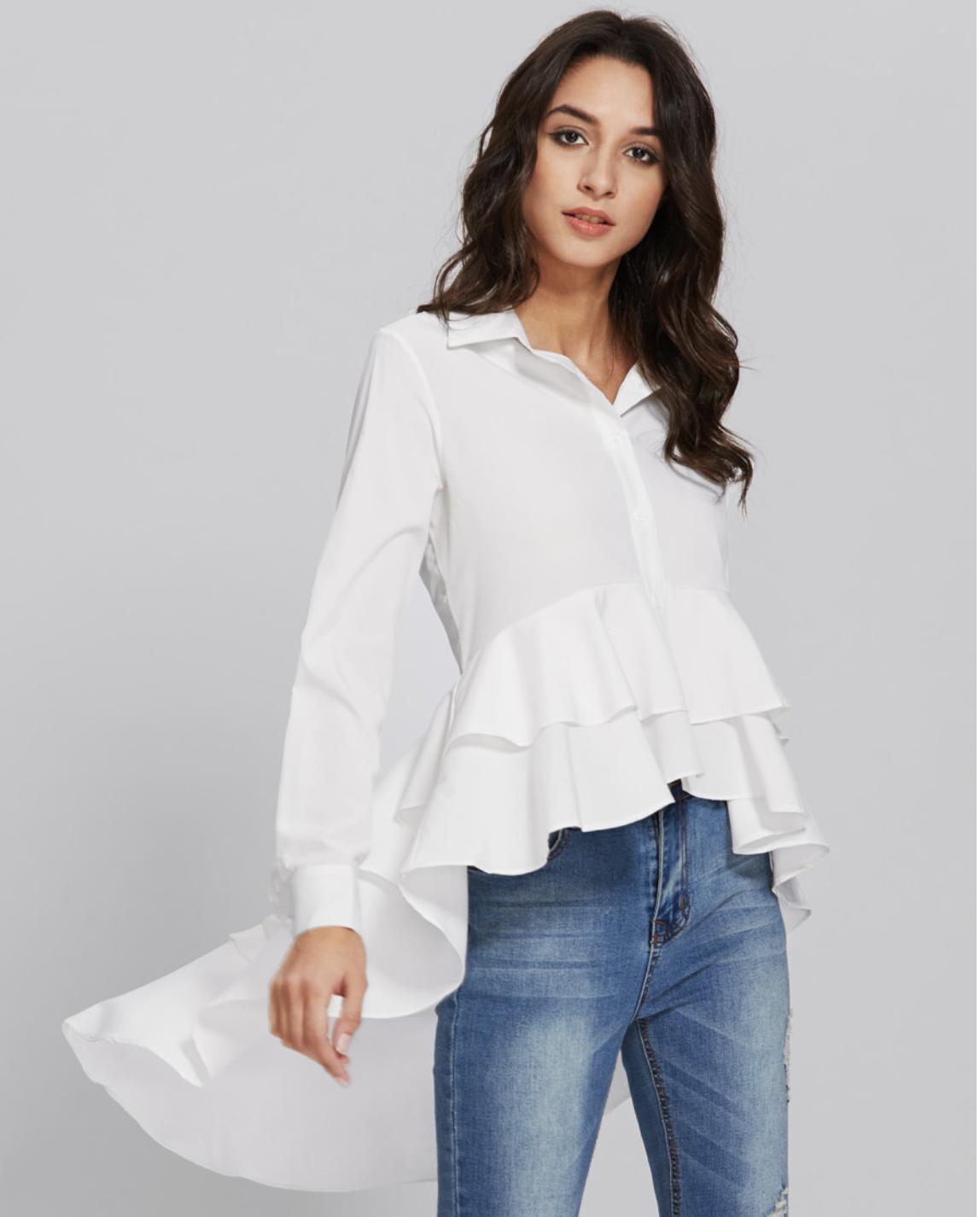 Dip Hem Frill Layered Shirt