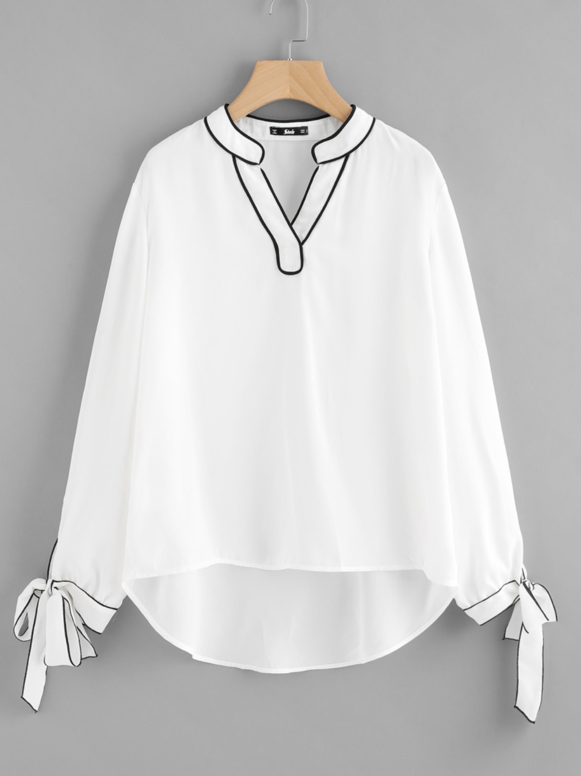 Tipping Detail Bow Tie Cuff Blouse