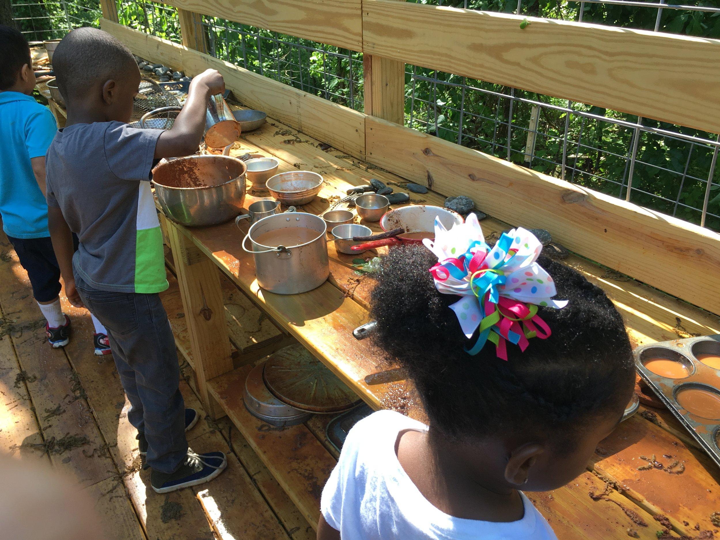mud kitchen at kinderwoods