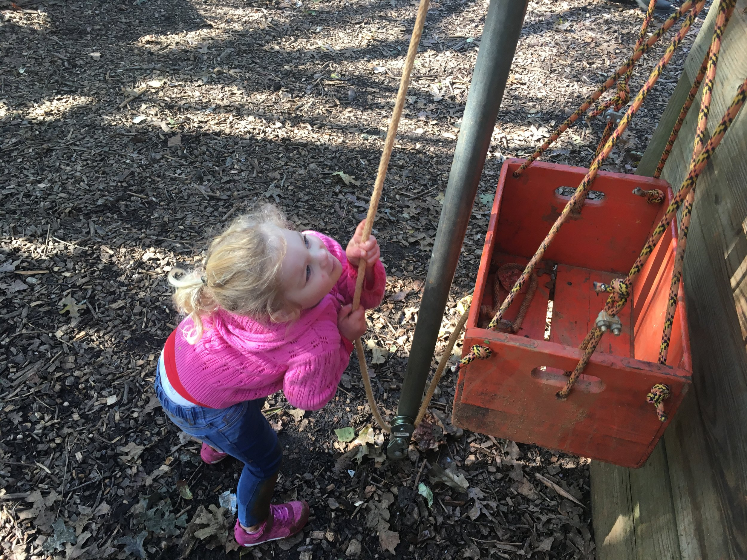 rope and pulley bucket at kinderwoods