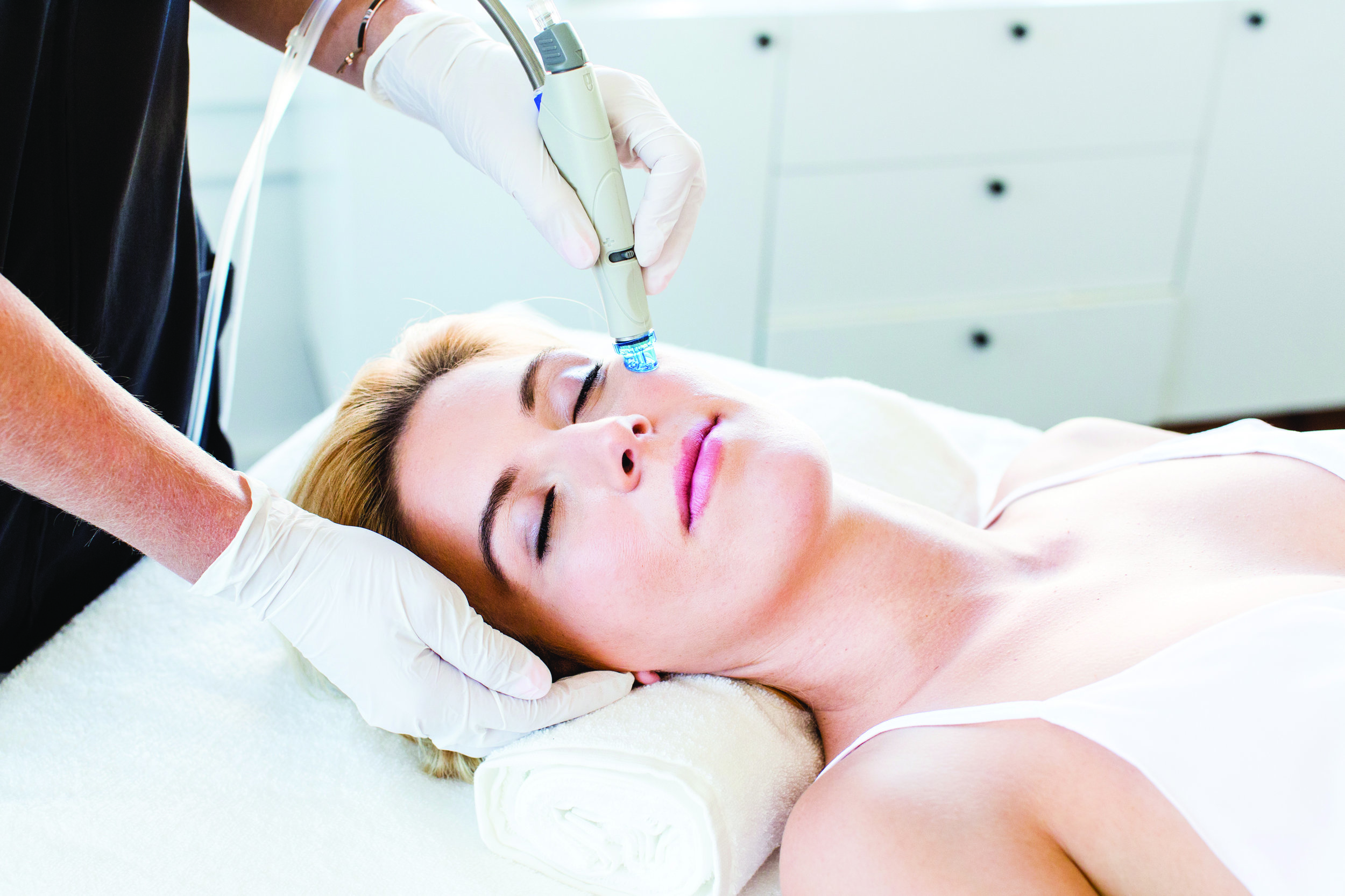 Hydrafacial   HydraFacial regularly appears in magazines and mentioned by celebrities.  HydraFacial is a multi-step treatment that uses patented technology to cleanse, exfoliate, extract and treat the skin. During the treatment dead skin cells and impurities are removed and the skin is hydrated with antioxidants & peptides. Unlike other treatments, HydraFacial can be had as often as weekly or monthly to achieve a fast and long lasting result.  Whether you're simply looking to maintain the healthy condition of your skin or are concerned about acne or pigmentation, HydraFacial can be catered to your needs.  For prices click  here .