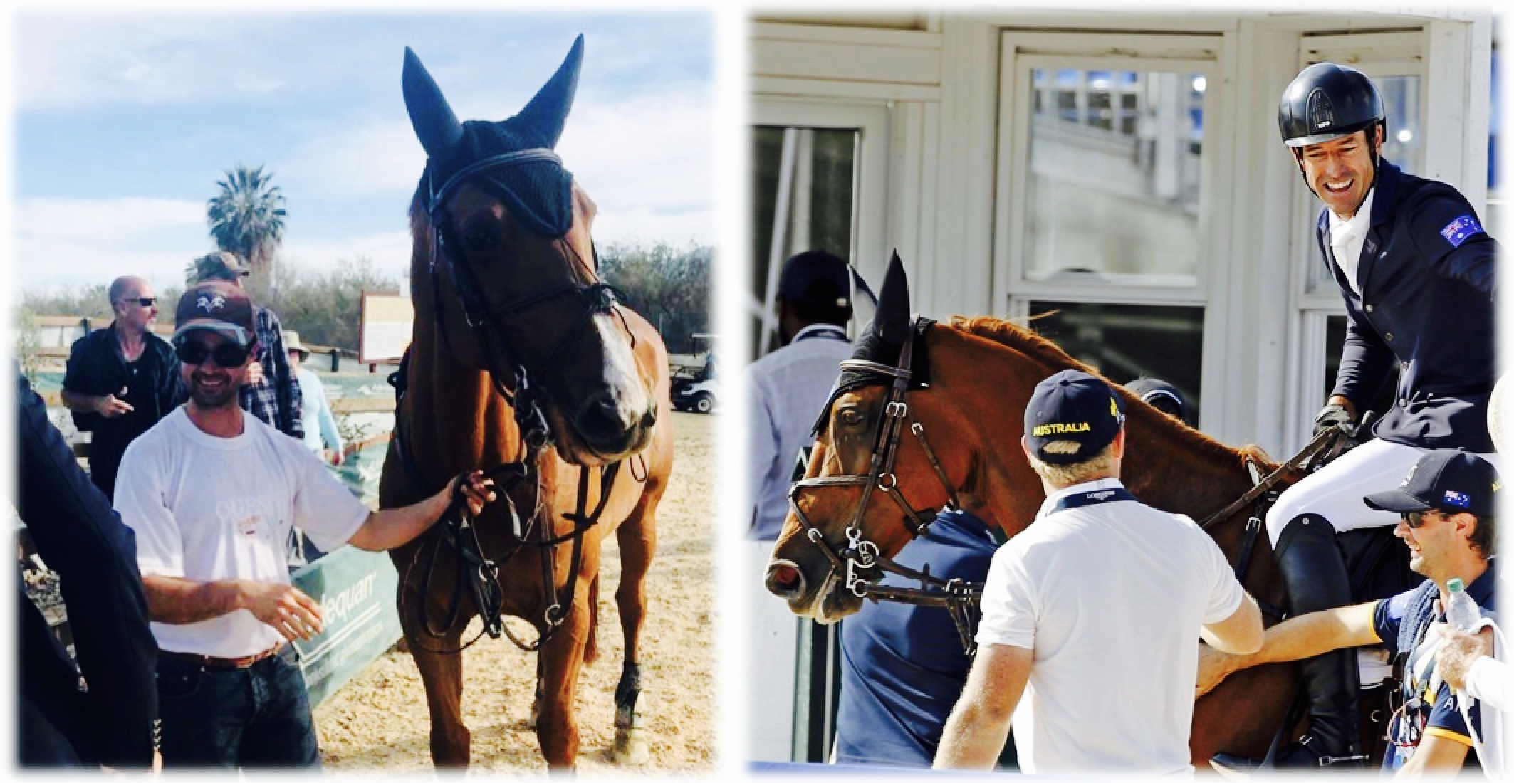 Robert & Blue Movie at the 1 Million Dollar Grand Prix in California (left), at the World Equestrian Games in Tryon (right), 2018